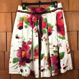 Bandolino Ivory Floral Pleated Skirt Size 6